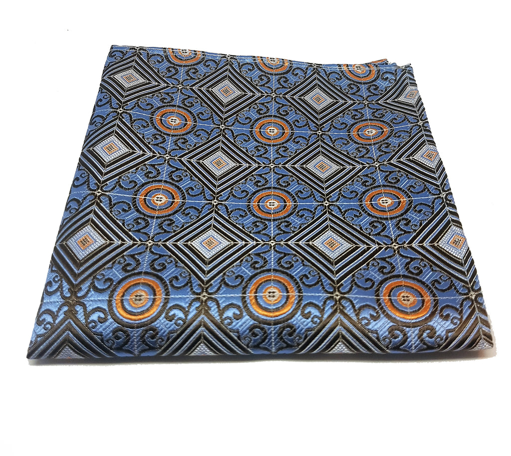 Blue and orange geometric pocket square made from silk | The Perfect Gentleman