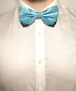 Shiny blue bow tie for gentlemen with metal corner piece | The Perfect Gentleman