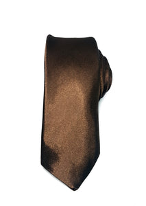 mens brown skinny tie with triangle end | The Perfect Gentleman