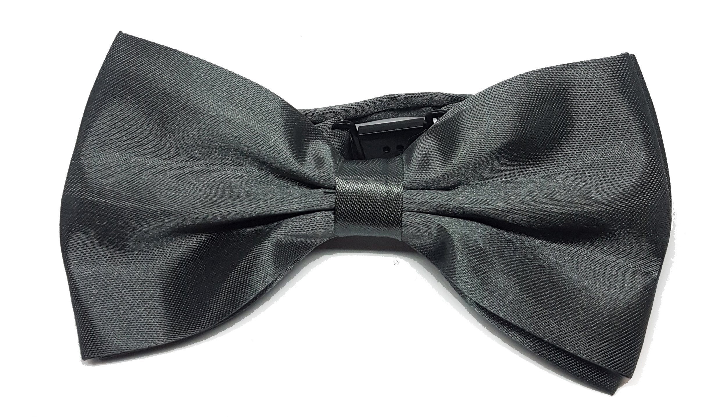 Shiny gun metal grey bow tie for gentlemen