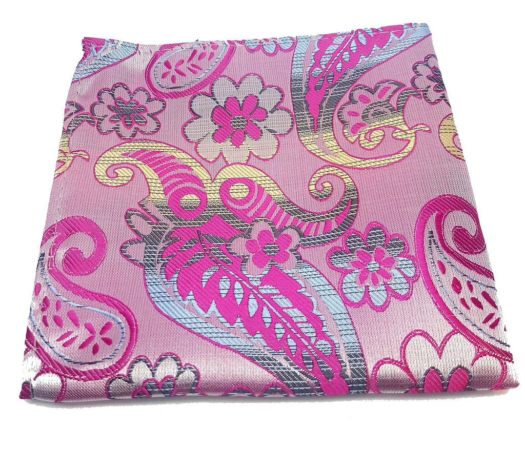Pink paisley pocket square made from silk | The Perfect Gentleman