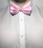 Shiny pink bow tie for gentlemen with metal corner piece | The Perfect Gentleman
