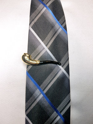 golden pipe tie clip on blue and black tie | The Perfect Gentleman