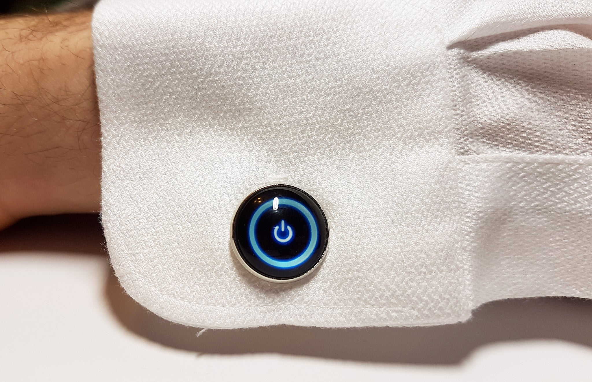 blue and black power button cufflinks with silver frame | The Perfect Gentleman