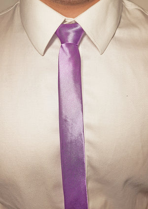 mens purple skinny tie with triangle end | The Perfect Gentleman
