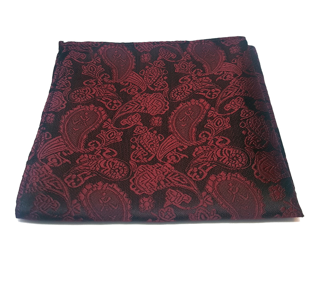 Dark red paisley pocket square made from polyester  | The Perfect Gentleman