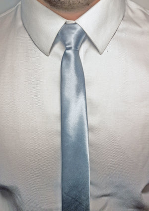 mens silver skinny tie with triangle end | The Perfect Gentleman
