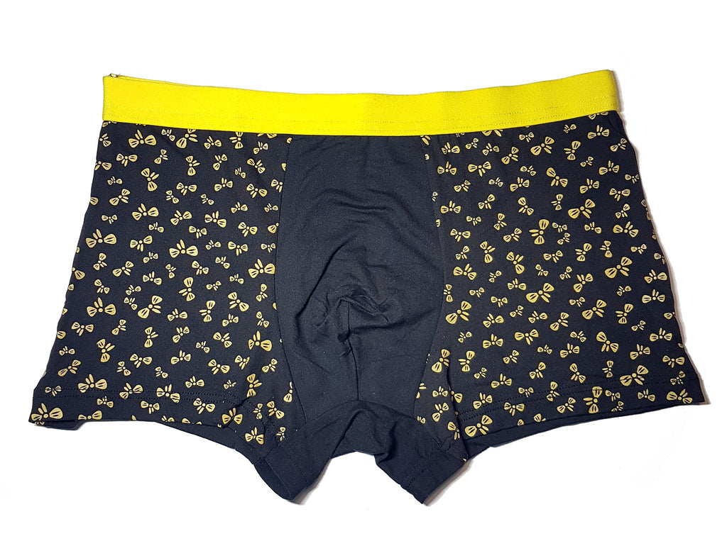 black mens underwear with yellow bowties and yellow waist band | The Perfect Gentleman