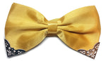Shiny yellow bow tie for gentlemen with metal corner piece | The Perfect Gentleman