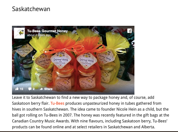How Awesome to BEE seen as 'the best honey' for the Province of Saskatchewan!