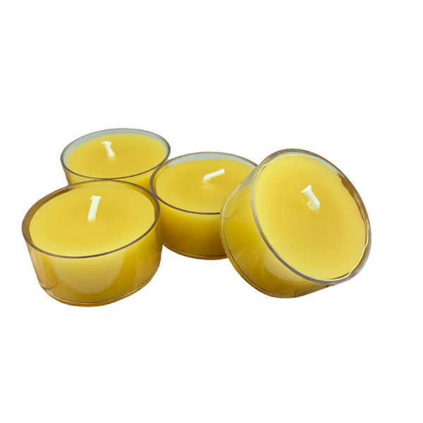 100% Natural Beeswax Tealights - Pack of 4 (Clear Cup)