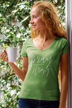 Pray Strong Ladies' Jersey V-Neck T-Shirt