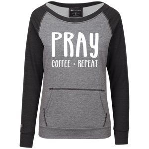 Pray Coffee Repeat Junior's Vintage Terry Fleece Crew