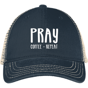 Pray Coffee Repeat District Mesh Back Cap