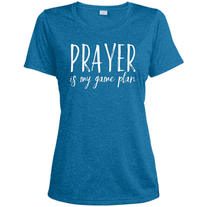 Prayer is My Game Plan Sport-Tek Ladies' Heather Dri-Fit Moisture-Wicking T-Shirt
