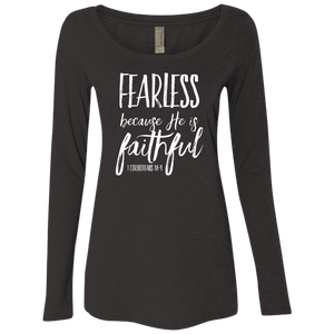 Fearless-Faithful Next Level Ladies' Triblend LS Scoop