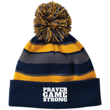 Prayer Game Strong Striped Beanie with Pom