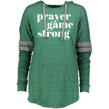 Prayer Game Strong Ladies Hooded Low Key Pullover