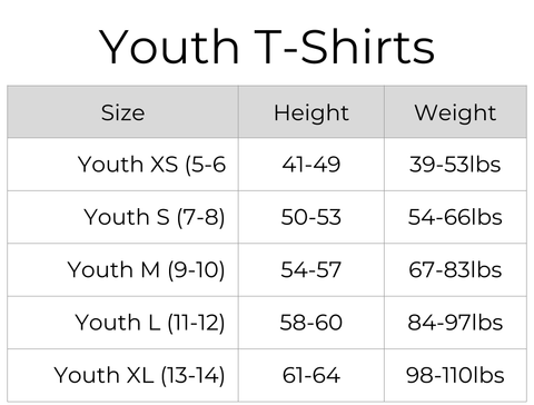 Youth shirts sizing chart