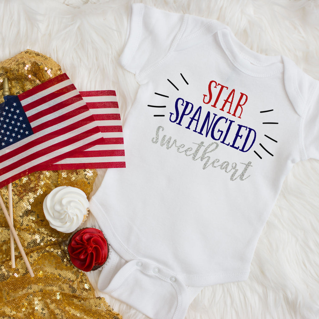star spangled sweetheart bodysuit with red while and blue and silver glitter