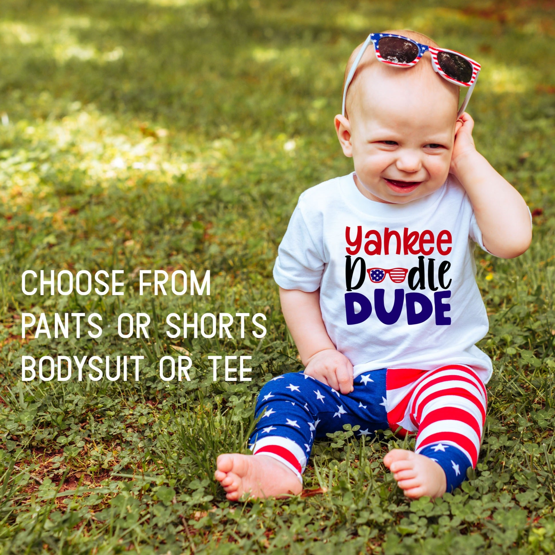 baby boy in yankee doodle dude shirt with sunglasses and american flag pants