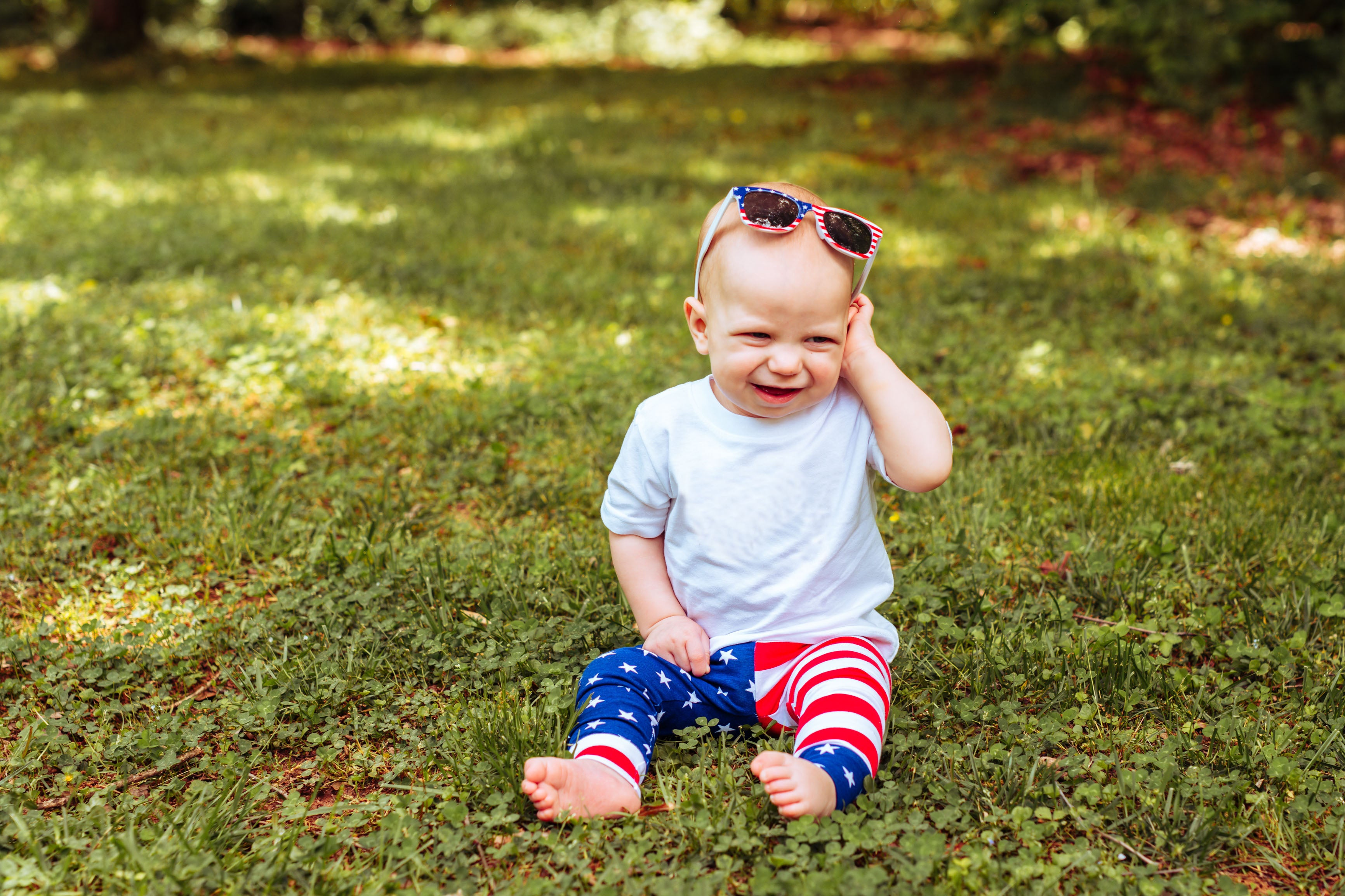 baby boy wearing america flag pants