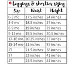 leggings and shorties sizing chart from Tailored by Torrey
