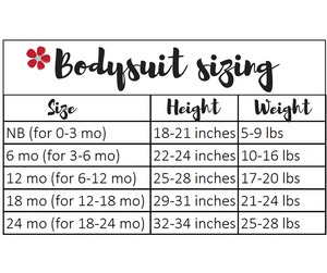 bodysuit sizing chart for Tailored by Torrey