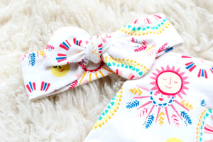 top knot headband with tribal sun print
