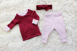 first valentines day outfit for baby girl with shirt headband and leggings