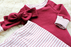cranberry shirt with pink striped cuffs and matching top knot headband