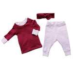 shirt leggings and top knot headband set in cranberry for baby girl