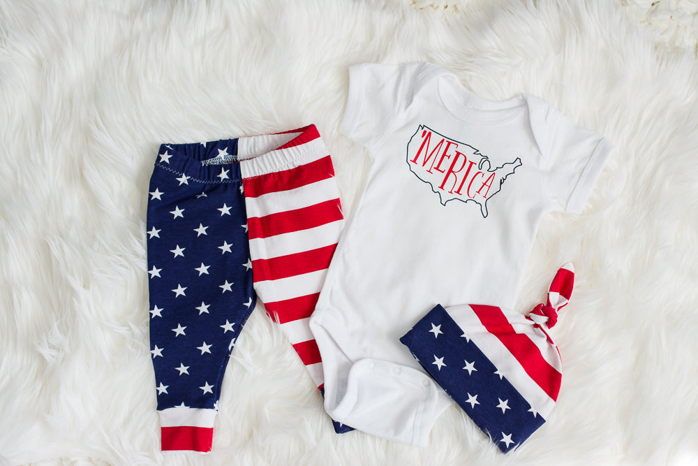 three piece american set for baby boy