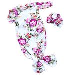 floral knotted infant gown with floral bow turban hat