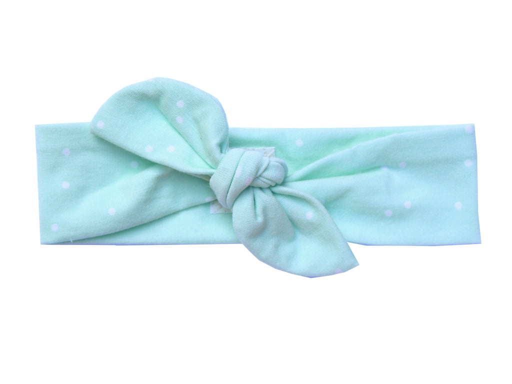 mint dots top knot headband