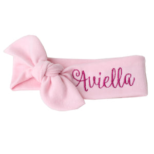 pink top knot headband monogrammed with Aviella