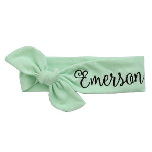 Top knot headband with Emerson monogrammed on it for baby boy