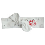 white and grey star top knot headband with red three letter monogram