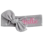 Grey chevron headband with Hallie in pink thread