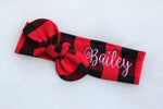 top knot headband personalized with the name Bailey on red and black buffalo plaid