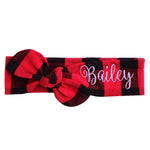 Red and black buffalo plaid top knot headband with Bailey embroidered in white thread