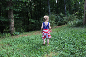 back of summer 4th of july twirl dress with red white and blue stars and stripes