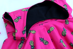 inside black lining of pineapple dress
