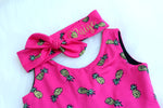 hot pink girls tank top pineapple dress with name embroidered top knot headband