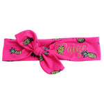 hot pink pineapple headband with gold name embroidery