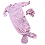 knotted infant gown and turban bow hat in mauve pink