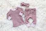 shirt leggings and headband set for baby girl in mauve pink waffle knit