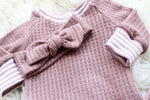 waffle knit baby girl shirt and top knot headband in mauve