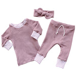 mauve pink waffle knit baby girl shirt headband and pants set