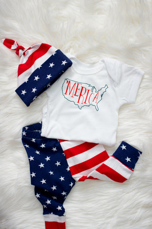 detail image of baby boy american three piece outfit